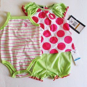 US Polo Assn Baby Girls 3 PC Set 3M NWT